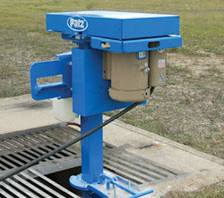 Vertical Electric Prop Agitator Close Up Above Ground